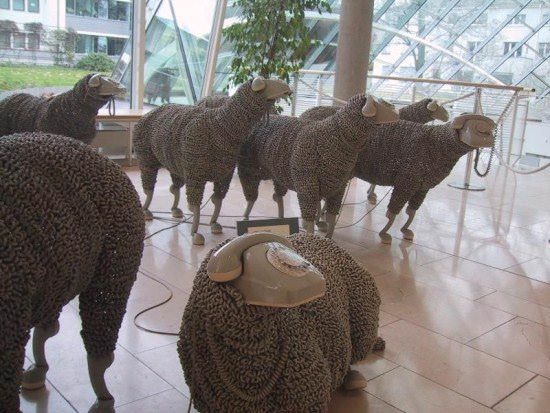 Telephonic sheep in art  with Sculpture phone