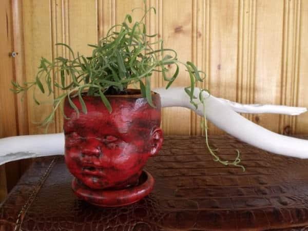 Doll head flowerpot holder Wood & Organic