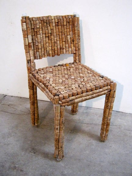 Cork Chair and Side Table in furniture corks  with Wine Table Corks Chair