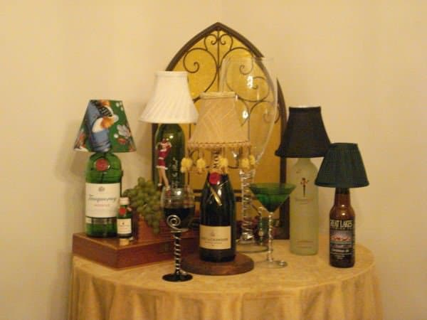 Recycled Bottles and Cigar Box vanity in glass  with Lamp
