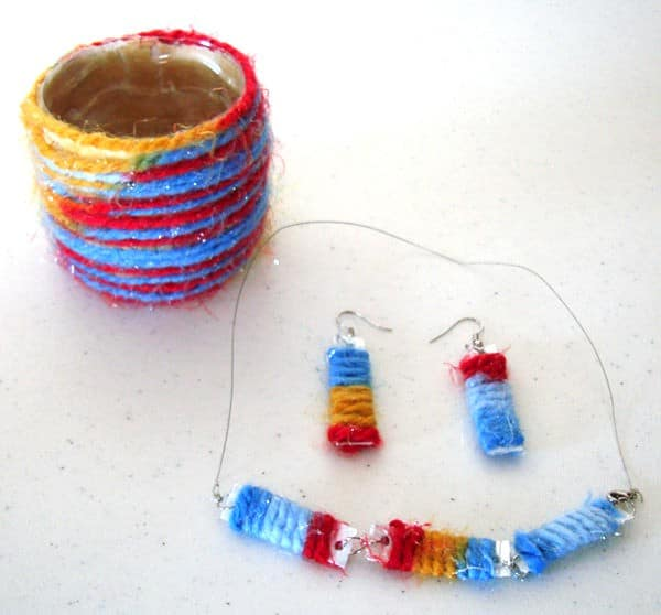 Wool carton milk jewelry in jewelry accessories  with Wool Upcycled Reused Plastic Necklace Earring Bracelet Bottle