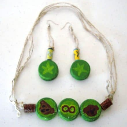 Plastic bottle caps jewelry