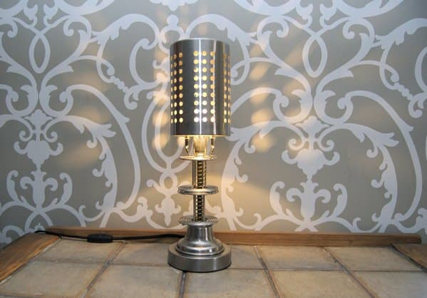 35mm film spool Lamp in lights  with Upcycled montreal Light Lamp film