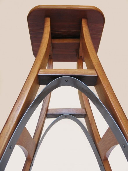 Eiffel, barstool recycled oak wine barrel
