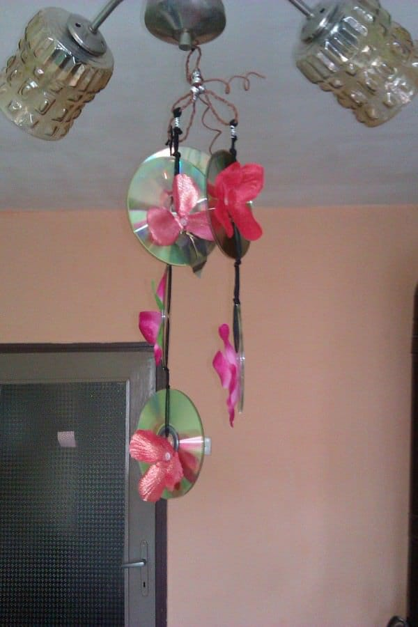 Old CDs Flower Chandelier in electronics diy  with old Flowers Chandelier CD
