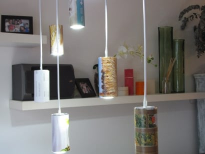 Light made of beer cans and old magazines