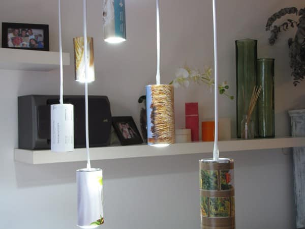 Light made of beer cans and old magazines in paper packagings lights  with Recycled Paper & Books Metal ecologic Beer