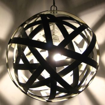 Orbits: Chandelier From Upcycled Oak Wine Barrels Metal Hoops