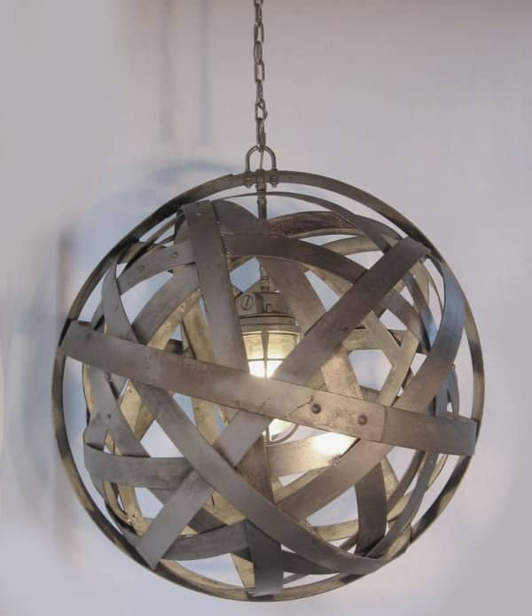 Orbits: Chandelier From Upcycled Oak Wine Barrels Metal Hoops Lamps & Lights Recycling Metal