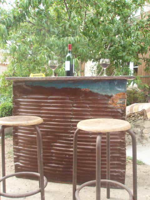 Oil drum bar in metals furniture diy  with oil Drum concrete Bar