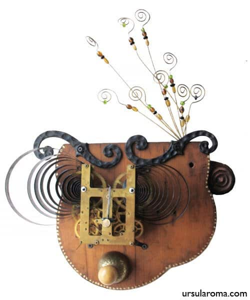 She was found fiddling with compositions in art  with Trash steampunk Sculpture Salvaged Repurposed Recycled Found object discarded