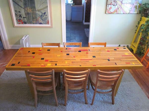Recycled Gym Floor Dining Room Table Do-It-Yourself Ideas Recycled Furniture