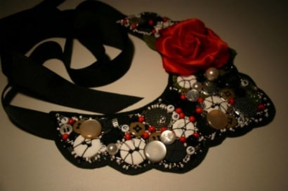 Tango Rose Beaded Collar