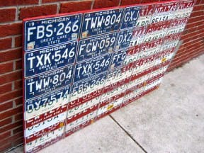 Michigan License Plate Flag of the USA