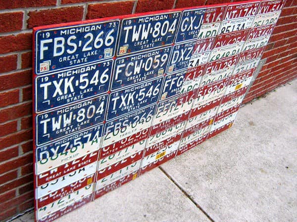 Michigan License Plate Flag of the USA Recycled Art Recycling Metal