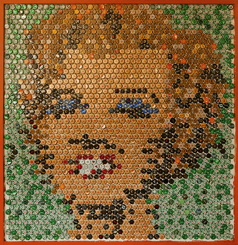 Marilyn Monroe Bottle Cap Portrait in art  with Portrait mosaic Caps Bottle Beer Artwork