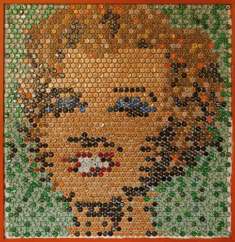 Marilyn Monroe Bottle Cap Portrait Recycled Art