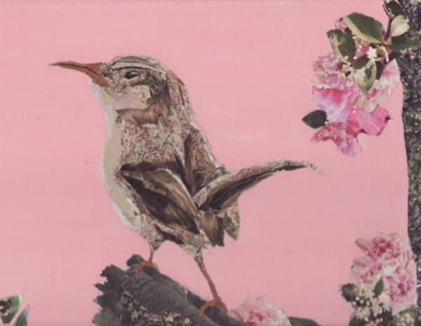 brown bird Collage Art in paper art  with Paper & Books collage Art