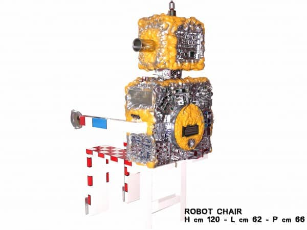 Robot chair in art electronics  with Recycled Electronics & E Waste Computer Chair