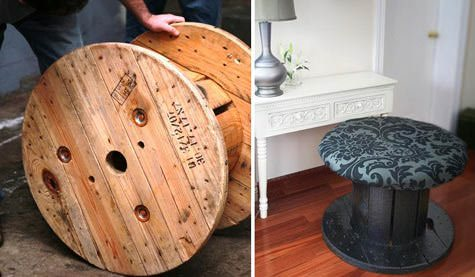 Cable spool stool (an how to do it yourself) in wood furniture  with upcycled furniture stool Cable