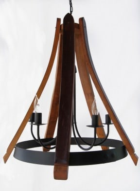 Cervantes Chandelier recycled oak wine barrel