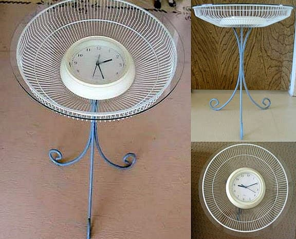 clock table Clock table in furniture  with Table fan Clock Candle 