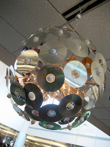 Disco Ball Made from Cds Lamps & Lights Recycled Electronic Waste