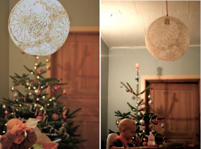 DIY: Doily pendant lamp with lace
