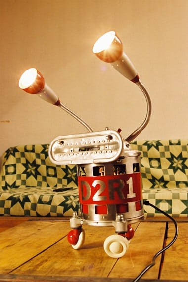 Robot Lamps by Eric Claverie Lamps & Lights Recycled Art