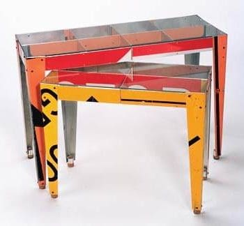 Re-used traffic signs furniture