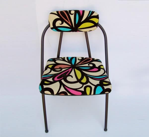 foldingchair1 Vintage Folding Chair Refreshed in furniture with Upcycled Metal Fabric Chair