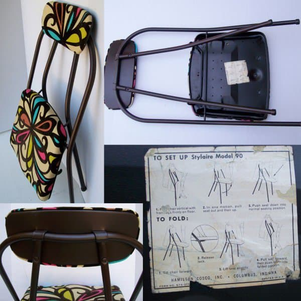 Vintage Folding Chair Refreshed in furniture  with Upcycled Metal Fabric Chair