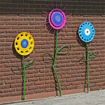 Hubcap Flower Garden in diy  with Repurposed Recycled Garden Flowers DIY