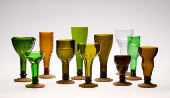 laurence brabant Recycled bottles  in glass  with kitchen Glass