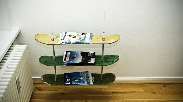 Skateboard Magazine Rack Recycled Furniture Recycled Sports Equipment