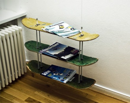 Skateboard magazine rack