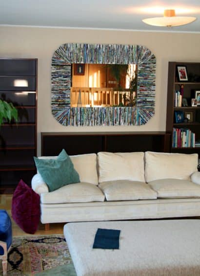 Oversized Mirror Frame with Recycled Magazines