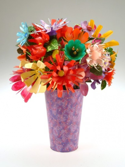 Pop and Water Bottle Flowers