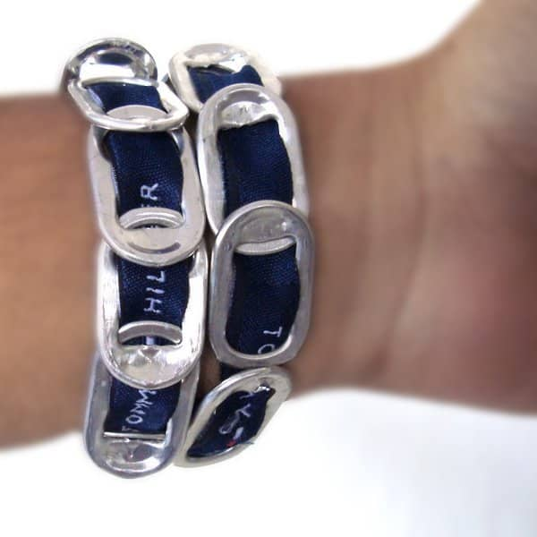 Can Pull Tab Bracelet Recycled Packaging Recycling Metal Upcycled Jewelry Ideas