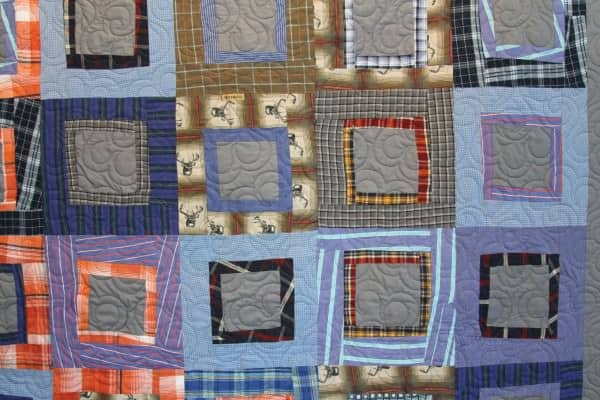 Eco Friendly Recycled Quilt Made From Repurposed Men's Shirts Clothing