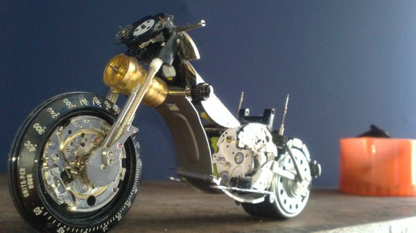 Tissot Watch Upcycled Into Miniature Harley Recycled Art