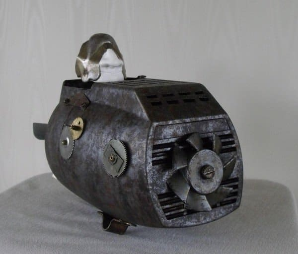 Submarine-men Made with Vintage Table Fans Accessories Recycled Art Recycling Metal