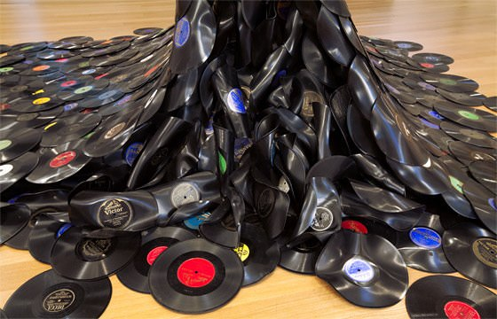 The sound wave in vinyl records art  with Vinyl Records Sculpture