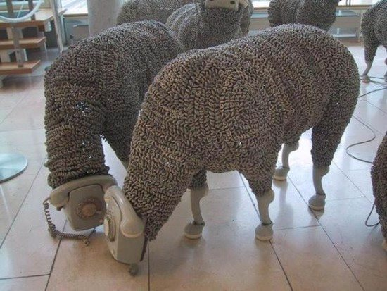 Telephonic Sheep Recycled Art