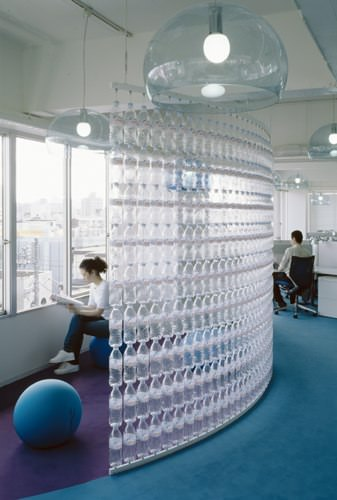 water bottle wall2 Water bottle wall in plastics architecture  with WC wall Bottle