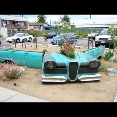57 Edsel Station Wagon… planterbox, bench seating and bike racks