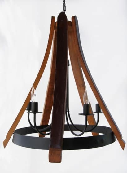 Cervantes Chandelier From Recycled Oak Wine Barrel