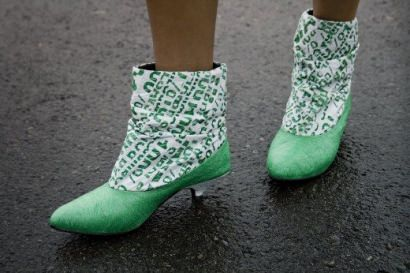 Dacca boots made of plastic bags