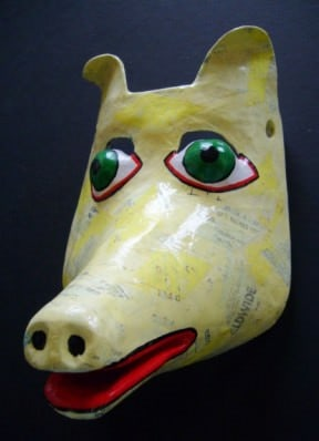 Paper mache dog mask