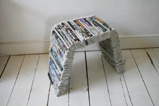 1234975417 89stool2 Newspapers bench and stool in paper furniture  with stool Newspaper Furniture Bench 